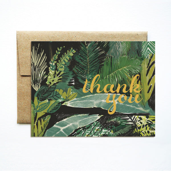 Foil palms green thank you card - Ferme à Papier