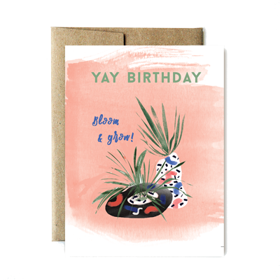 "Birthday ""yay"" airplant card"