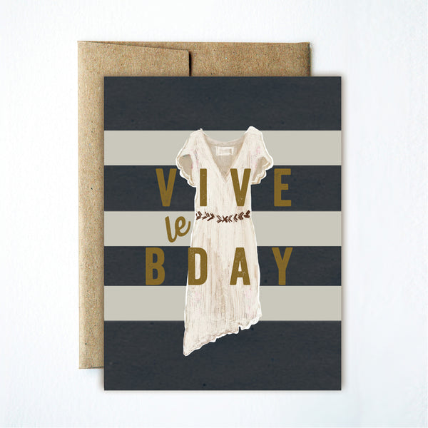 Vive le birthday dress card - Ferme à Papier