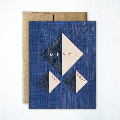 Blue straw merci triangle card - Ferme à Papier