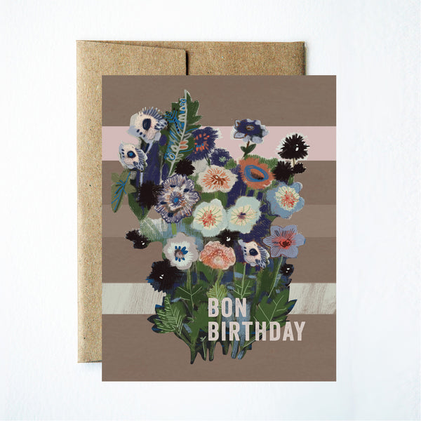 Bon birthday flowers card - Ferme à Papier
