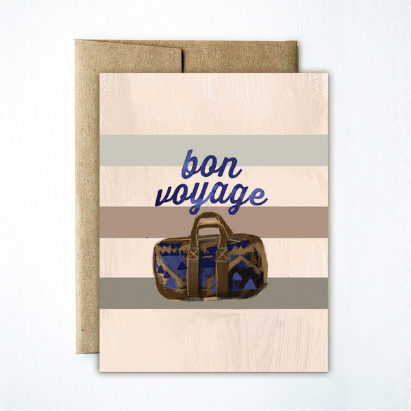 Striped bon voyage card - Ferme à Papier