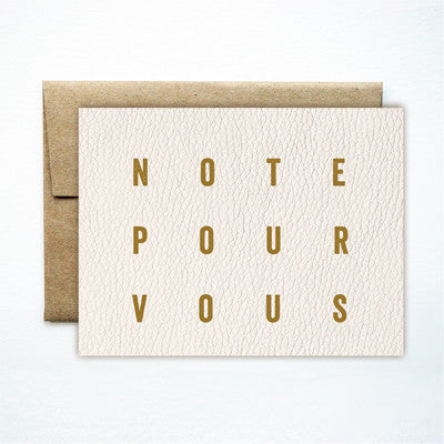 Foil pour vous white leather card - Ferme à Papier