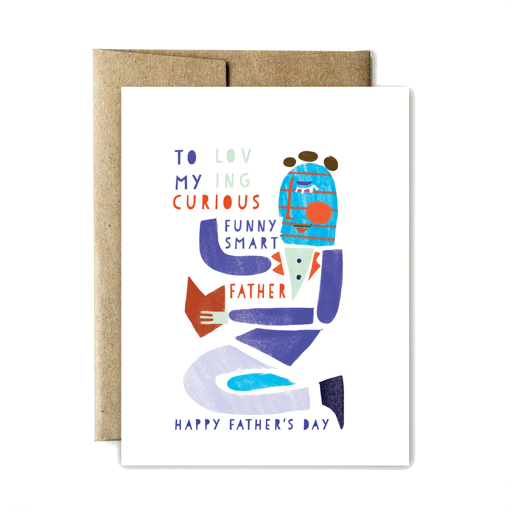 Shapes loving curious fathers day card - Ferme à Papier