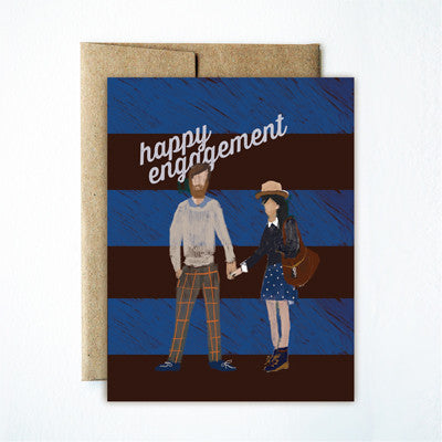 Striped couple engagement card - Ferme à Papier