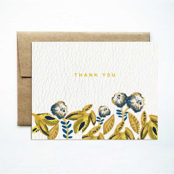 Foil banana leaf thank you card - Ferme à Papier