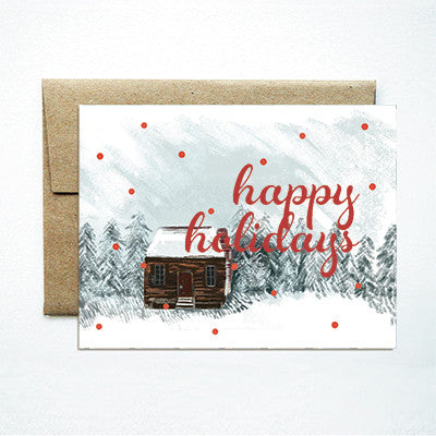 Foil Happy Holidays Winter Cabin - Ferme à Papier