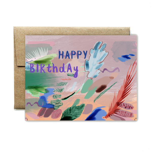 Aqua plant birthday card