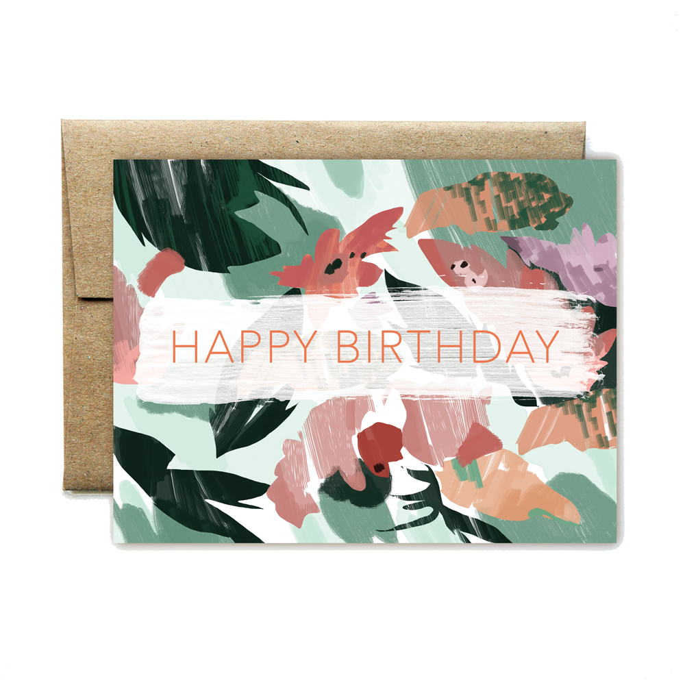 Pinky peach floral birthday card