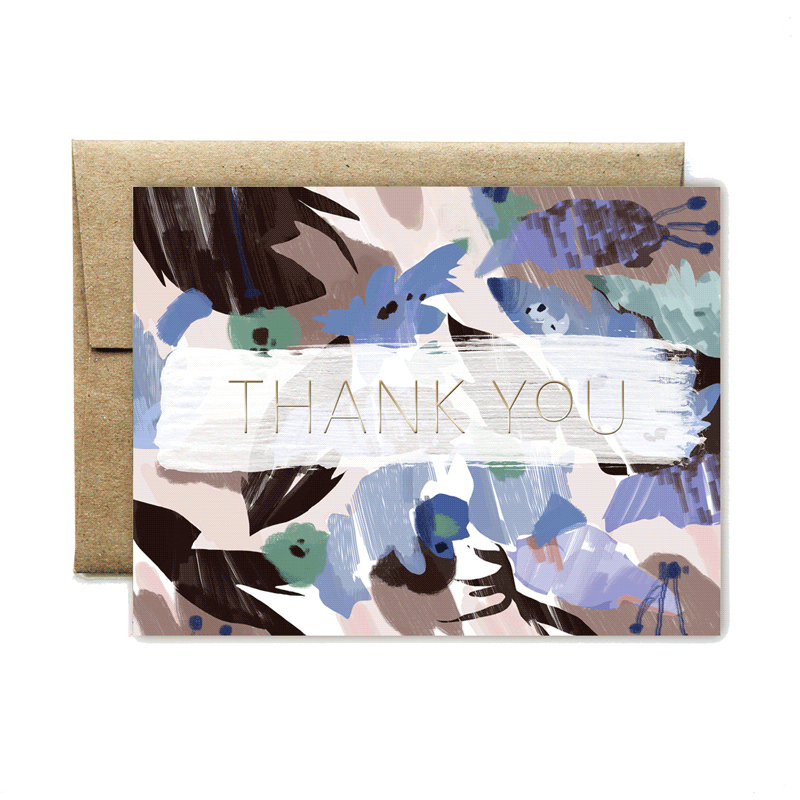 Foil blue floral thank you card