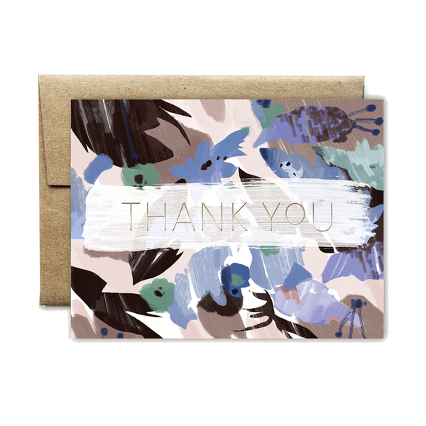 Foil blue floral thank you set