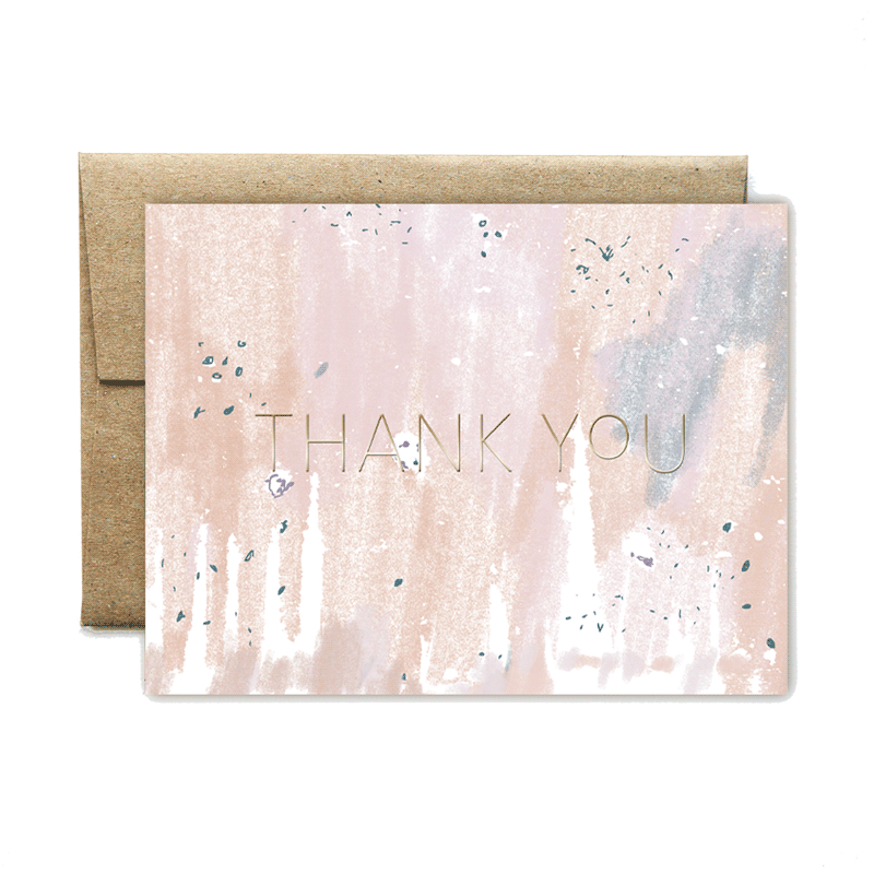 Foil peach concrete thank you set