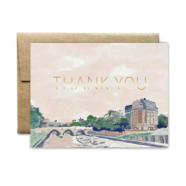 Foil seine river thank you card