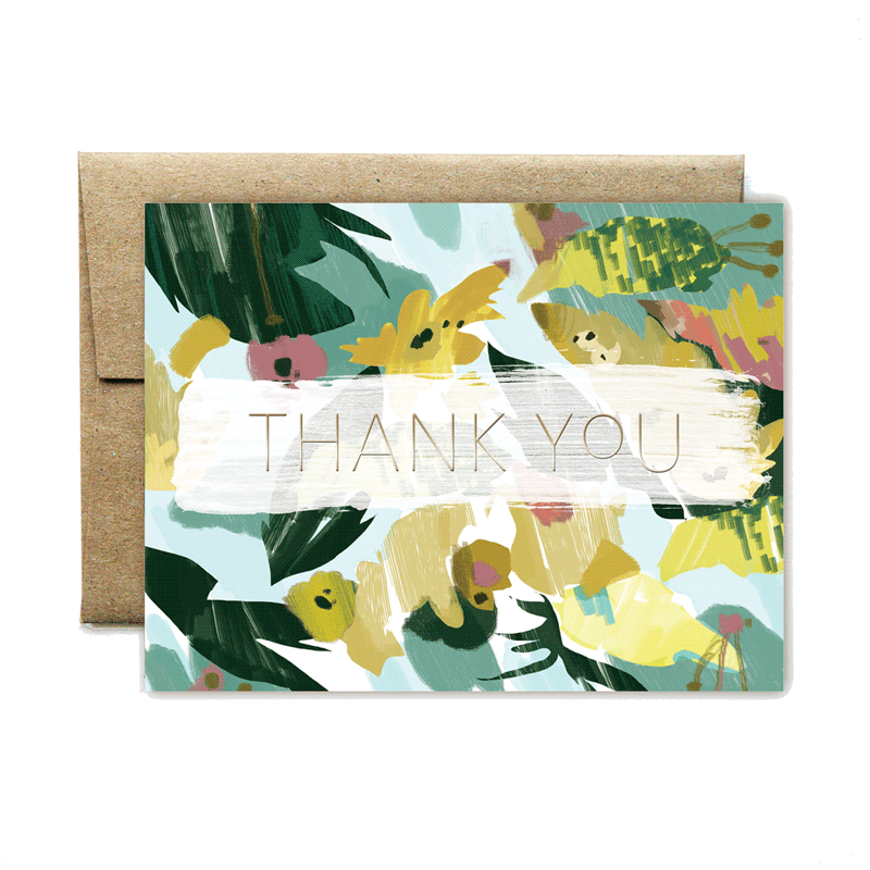 Foil yellow floral thank you card