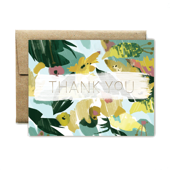 Foil yellow floral thank you set