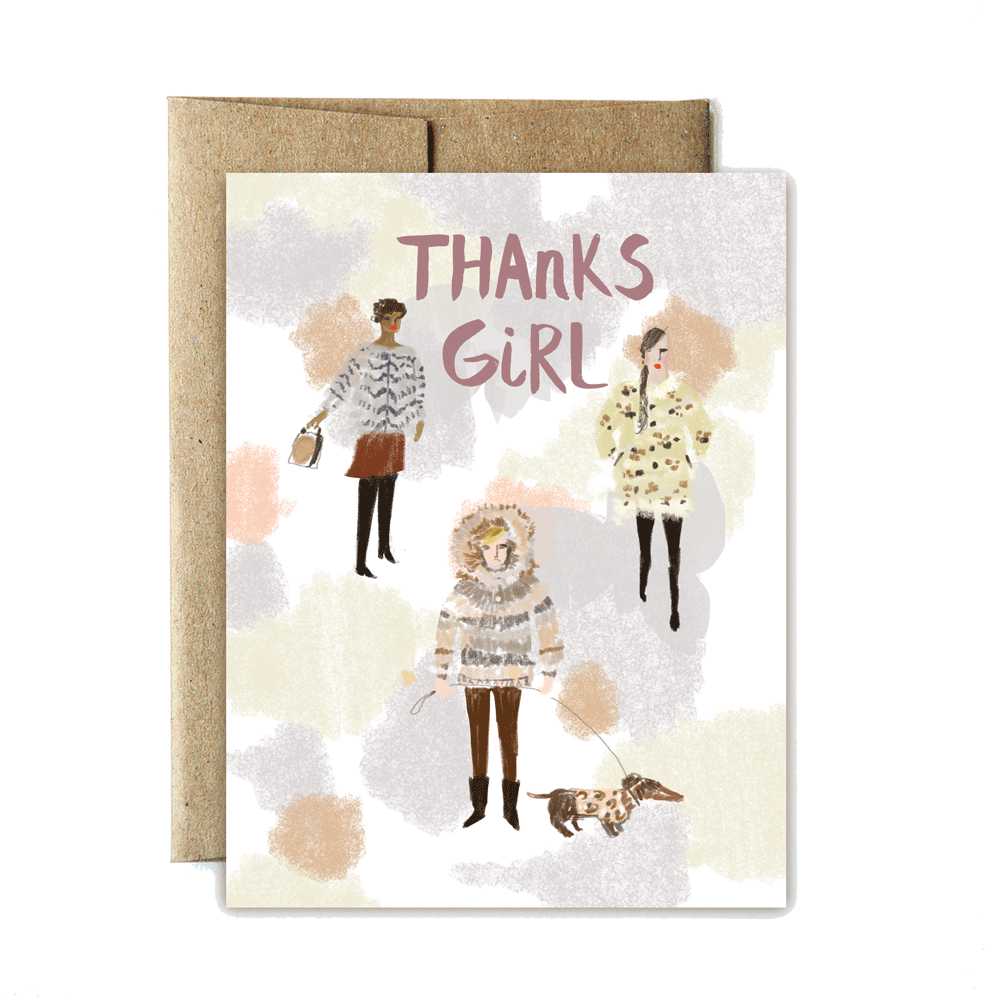 Fur coats thanks card