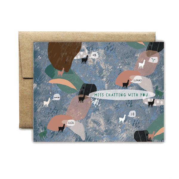 Abstract llamas chat card