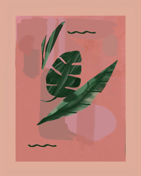 melon monstera art print