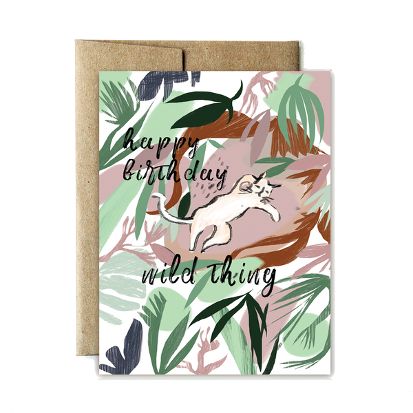 Jungle cat birthday card