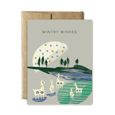 LLama wintry wishes card