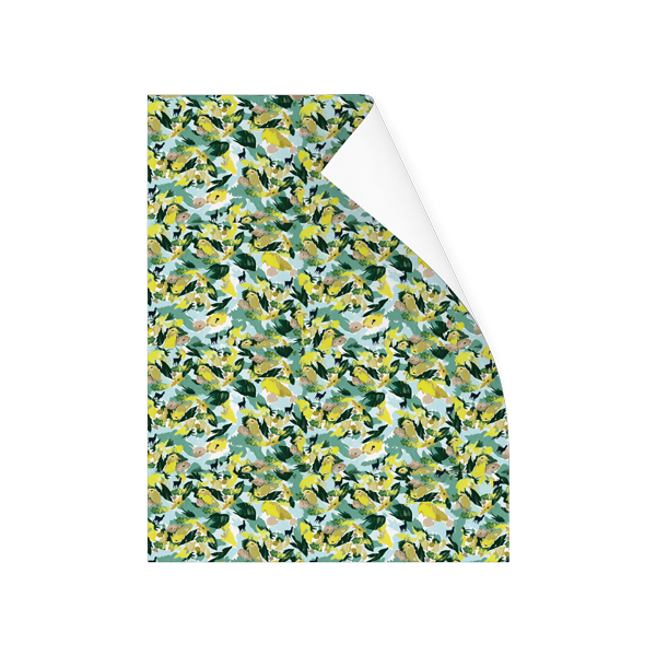 Yellow floral gift wrap roll