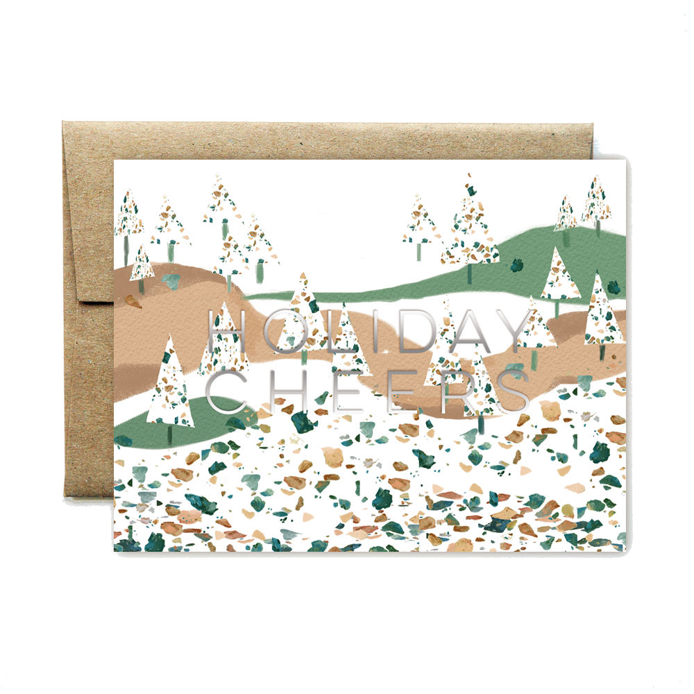 Foil terrazzo holiday cheers set