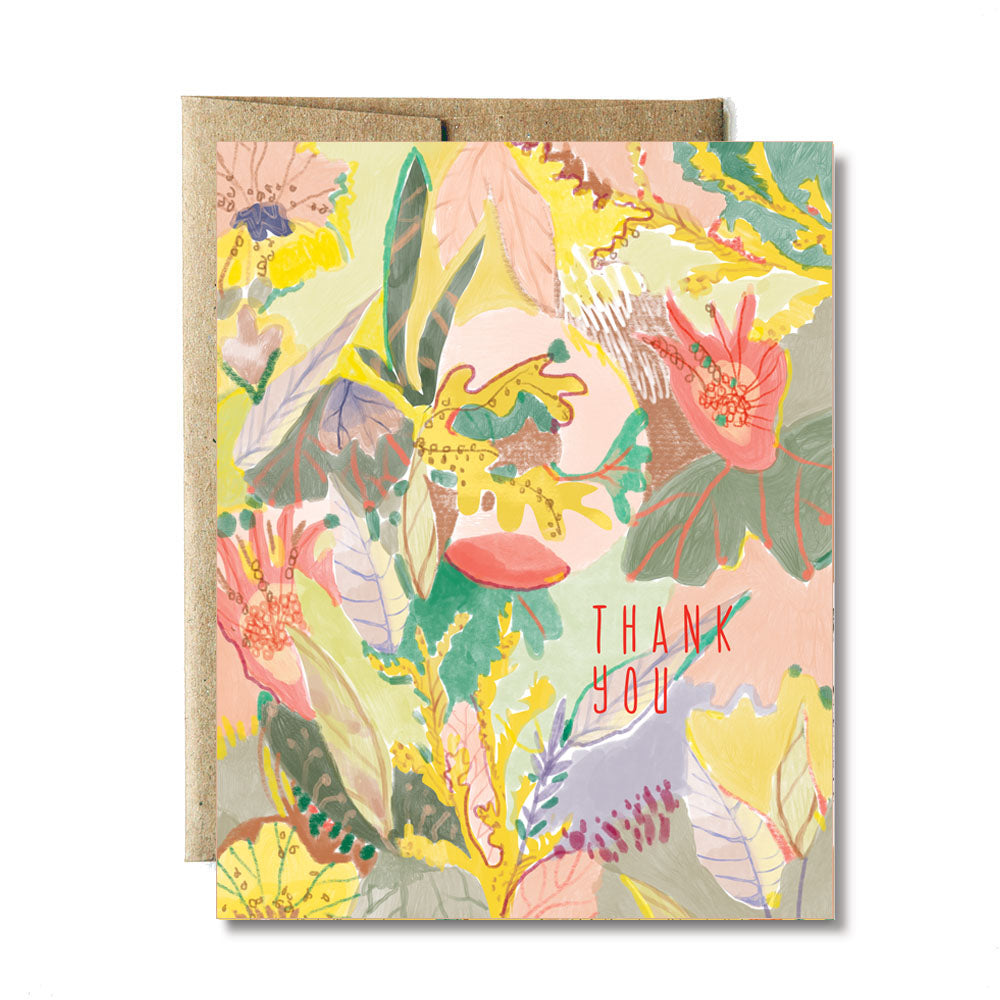 Floral fauna thank you card