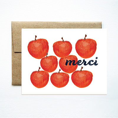 Red apples merci card - Ferme à Papier