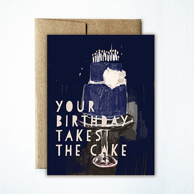 Blue cake birthday card - Ferme à Papier