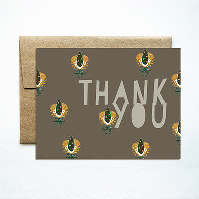 Calico taupe thank you card - Ferme à Papier