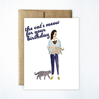 Chat birthday card - Ferme à Papier