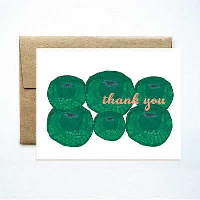 Green tomatoes thank you card - Ferme à Papier
