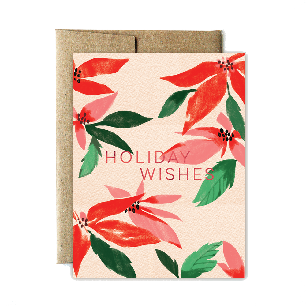 Foil poinsettia holiday wishes