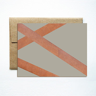 Leather diagonal card - Ferme à Papier
