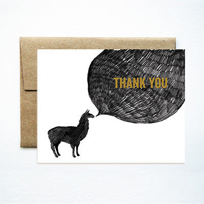 Llama thank you card - Ferme à Papier