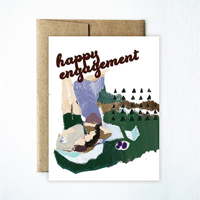 happy engagement couple card - Ferme à Papier