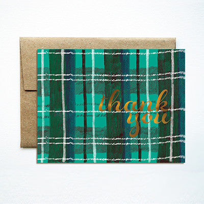 Foil plaid emerald thank you set - Ferme à Papier