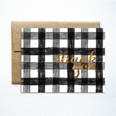 Foil black gingham thank you card - Ferme à Papier