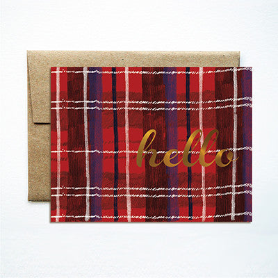 Foil red plaid hello card - Ferme à Papier