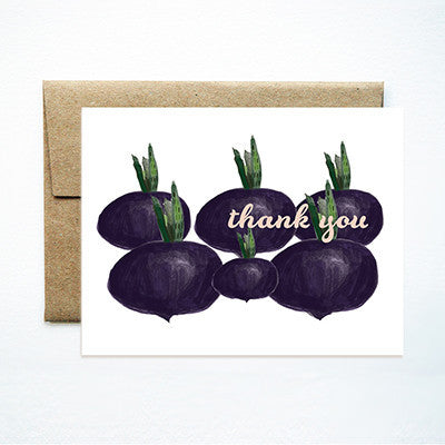 Purple turnips thank you set - Ferme à Papier