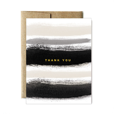 Foil fog stripes thank you card
