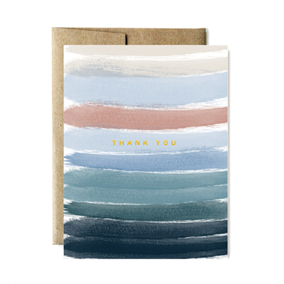Foil ocean stripes thank you card