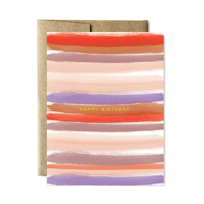 Foil sunset stripes birthday card