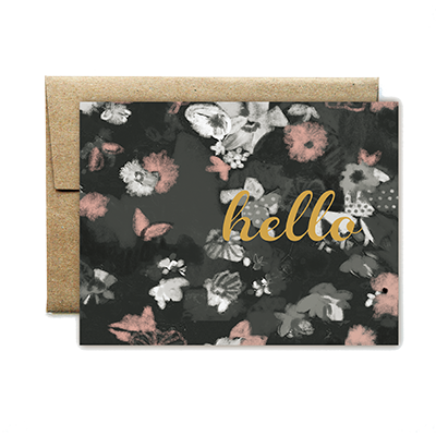 Foil peach and noir floral hello card - Ferme à Papier