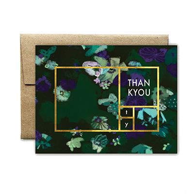 foil rectangle green foral TU card - Ferme à Papier