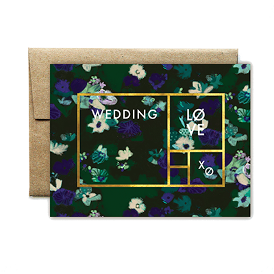 foil rectangle floral wedding card - Ferme à Papier
