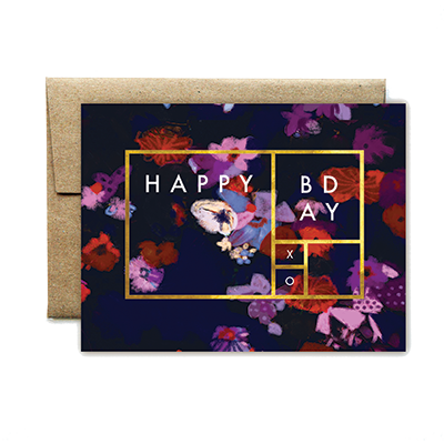 foil rectangle purple floral birthday card - Ferme à Papier
