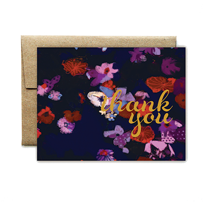 foil cursive purple floral thank you card - Ferme à Papier