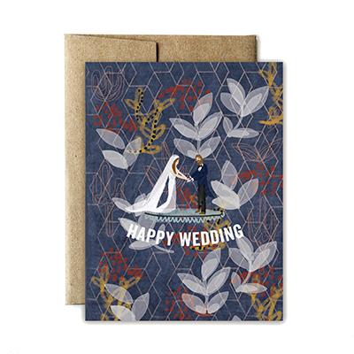 folk pattern wedding card - Ferme à Papier