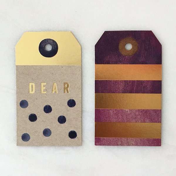 Foil dots and stripes natural gift tags